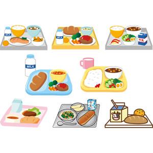 フリーイラスト, ベクター画像, AI, 食べ物(食料), 料理, 学校, 給食, コッペパン, ハンバーグ, カレー, 御飯(ご飯), サラダ, 牛乳(ミルク), 焼き鮭, スープ, 味噌汁(みそ汁), みかん, リンゴ