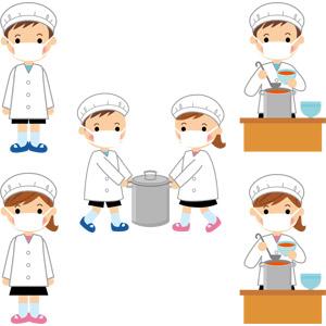 フリーイラスト, ベクター画像, AI, 人物, 子供, 男の子, 女の子, 学生(生徒), 小学生, 学校, 給食, 給食当番, 給食衣(給食着), 寸胴鍋