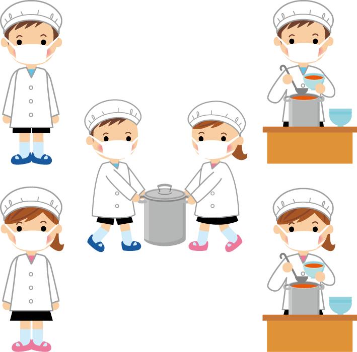 フリーイラスト 5種類の給食当番のセット