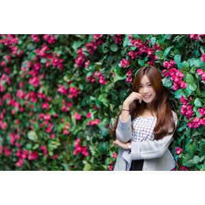 フリー写真, 人物, 女性, アジア人女性, 楚珊(00053), 頬杖をつく, 人と花, ピンク色の花
