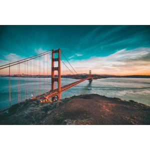 フリー写真, 風景, 建造物, ゴールデンゲートブリッジ, アメリカの風景, カリフォルニア州, サンフランシスコ, 夕暮れ(夕方)