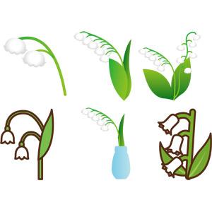 フリーイラスト, ベクター画像, AI, 植物, 花, 鈴蘭(スズラン), 白色の花