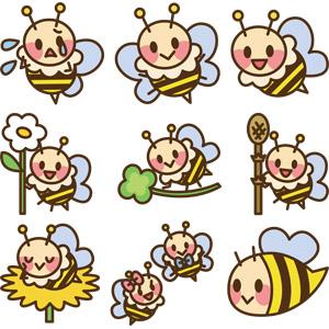 フリーイラスト, ベクター画像, AI, 動物, 昆虫, 蜂(ハチ), 蜜蜂(ミツバチ)