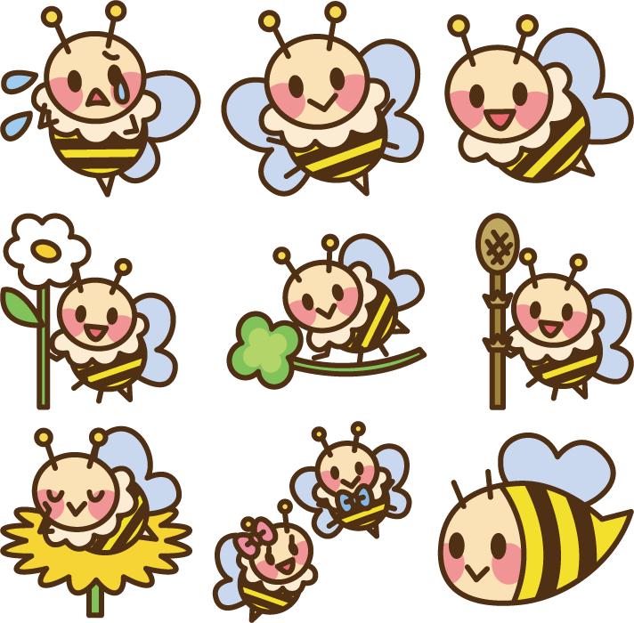 フリーイラスト 9種類のかわいいミツバチのセット