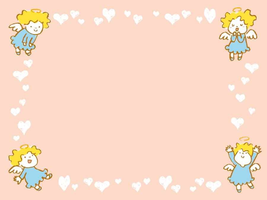 フリーイラスト ハートと天使の飾り枠