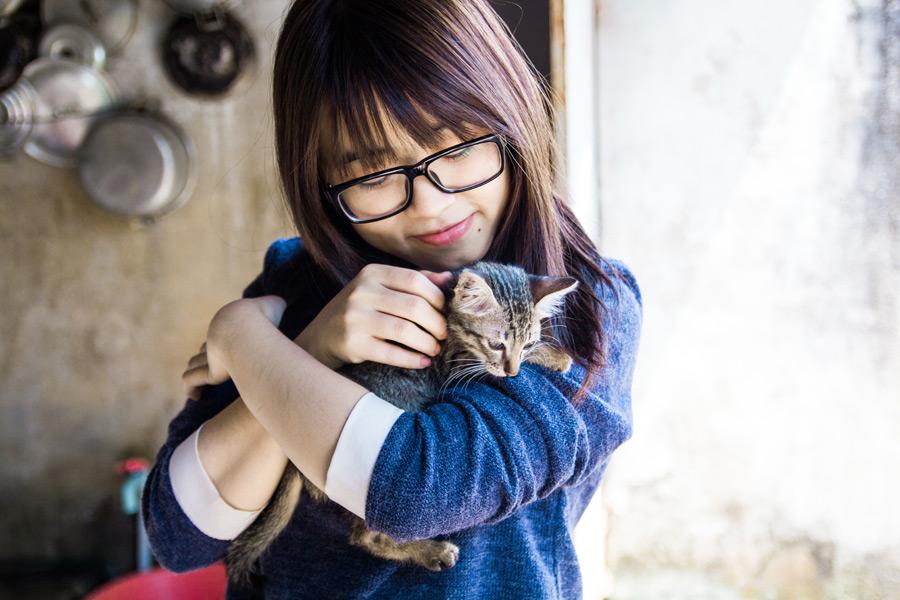 フリー写真 子猫を抱くベトナム人女性