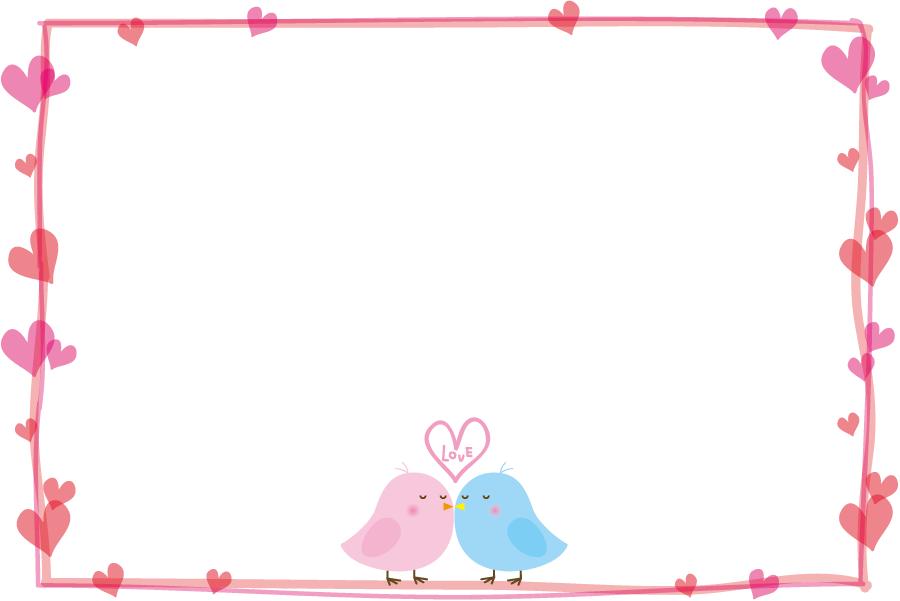 フリーイラスト 小鳥のカップルとハートの飾り枠