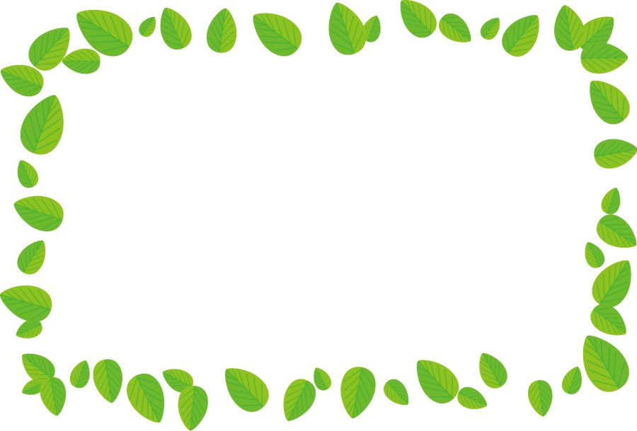 フリーイラスト 緑色の葉っぱの飾り枠