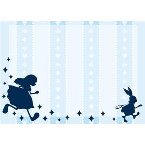 フリーイラスト, ベクター画像, AI, 背景, 不思議の国のアリス, 走る, 走る(動物), 女の子, 兎(ウサギ)