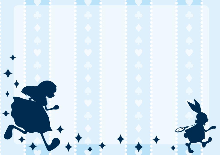 フリーイラスト 不思議の国のアリスと白ウサギの背景