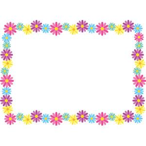 フリーイラスト, ベクター画像, EPS, 背景, フレーム, 囲みフレーム, 花柄, マーガレット, カラフル