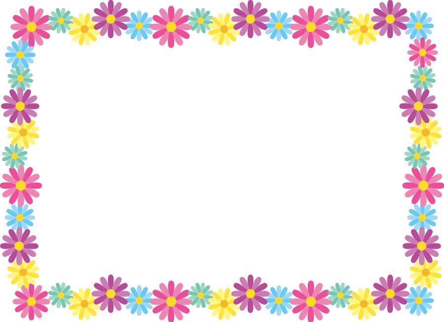 フリーイラスト マーガレットの花のフレーム