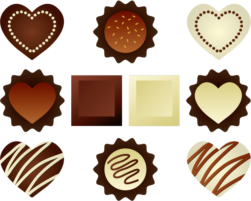 フリーイラスト 10種類のチョコレートのセット