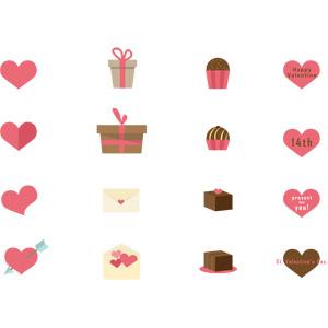 フリーイラスト, ベクター画像, AI, 年中行事, 2月, バレンタインデー, ハート, プレゼント, プレゼント箱, ラブレター, ハート矢, チョコレート, 封筒, 愛(ラブ)