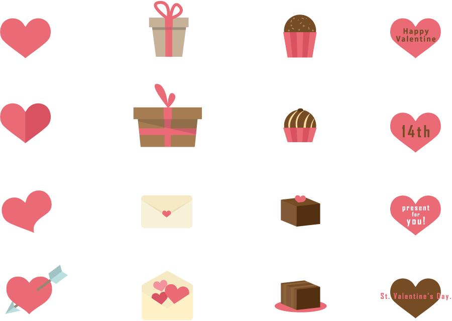 フリーイラスト 16種類のバレンタインデー関連のセット