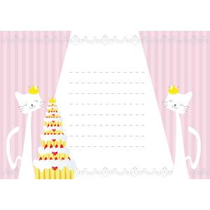 フリーイラスト, ベクター画像, AI, 背景, メッセージカード, メッセージフレーム, 結婚式(ブライダル), ウェディングケーキ, 猫(ネコ)