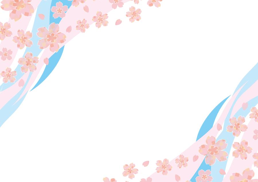 フリーイラスト 桜の花と波線の飾り枠