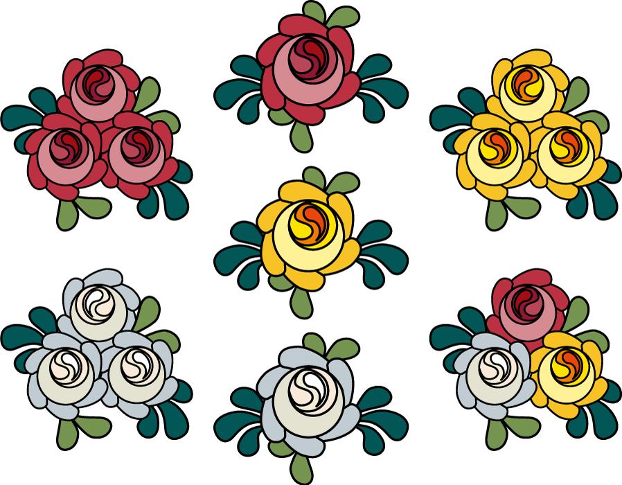 フリーイラスト 7種類の赤と白と黄色のバラの花のセット