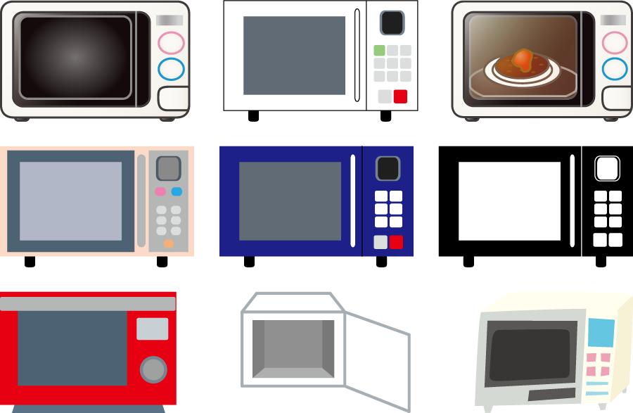 フリーイラスト 9種類の電子レンジのセット