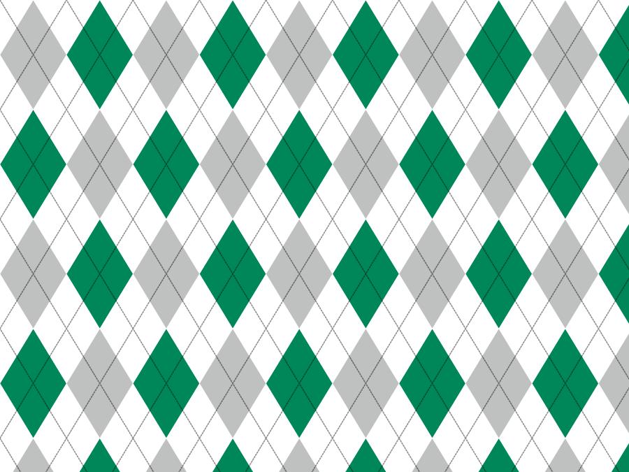フリーイラスト 緑と灰色のアーガイル柄の背景