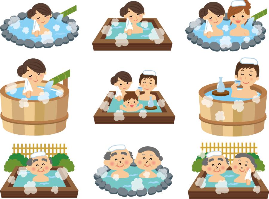 フリーイラスト 9種類の温泉に入る人々のセット