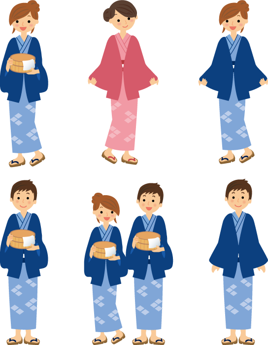 フリーイラスト 6種類の温泉旅館の浴衣を着た男女のセット