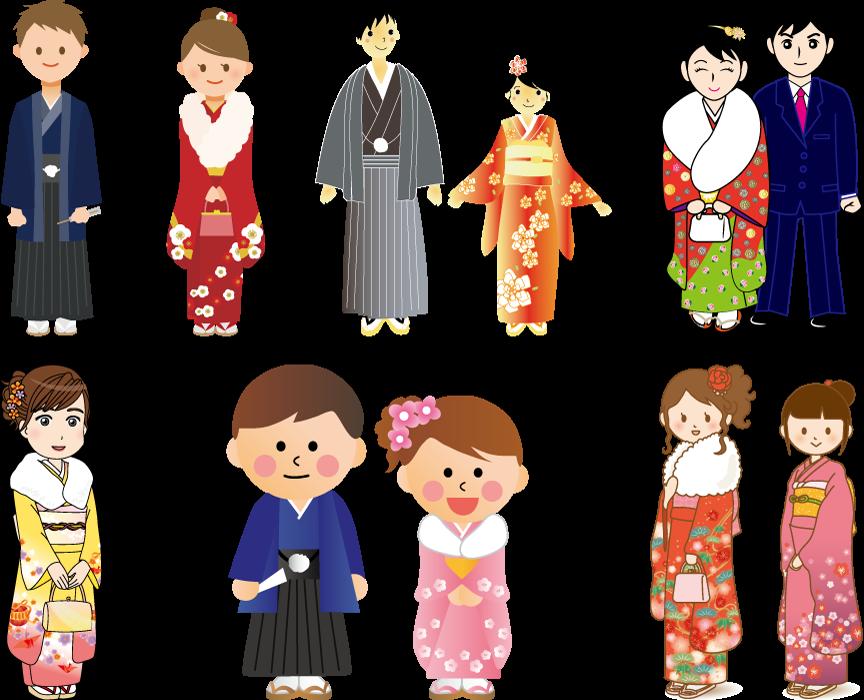 フリーイラスト 振袖と紋付袴姿で成人式を迎える6種類の男女のセット