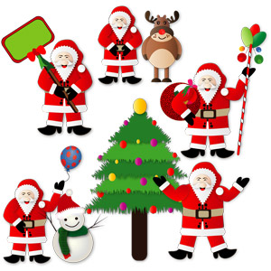 フリーイラスト, ベクター画像, SVG, 年中行事, クリスマス, 12月, 冬, サンタクロース, トナカイ, 雪だるま, クリスマスツリー