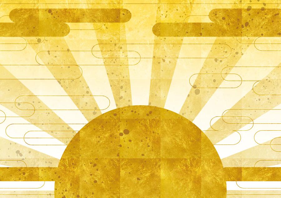 フリーイラスト 金色の初日の出の和柄背景