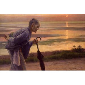フリー絵画, 和田英作, 人物画, シニア女性, 祖母(おばあさん), 傘, 夕暮れ(夕方), 夕焼け, 夕日, 横顔