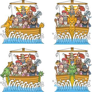 フリーイラスト, ベクター画像, AI, 七福神, 神, 恵比寿(えびす), 大黒天, 毘沙門天, 弁才天(弁財天), 福禄寿, 寿老人, 布袋, 乗り物, 船, 宝船, 帆船, 年中行事, 正月, 元旦(元日), 1月