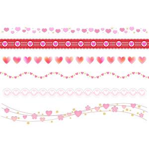 フリーイラスト, ベクター画像, AI, 背景, 飾り罫線(ライン), ハート, 年中行事, 2月, バレンタインデー, レース編み, 桜(サクラ)