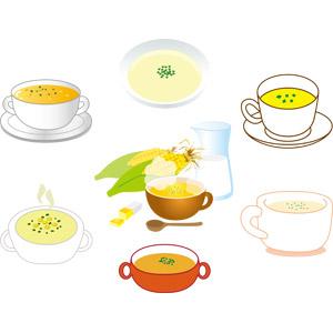 フリーイラスト, ベクター画像, AI, 食べ物(食料), 料理, スープ, コーンスープ, マグカップ, とうもろこし(トウモロコシ), バター, 牛乳(ミルク)