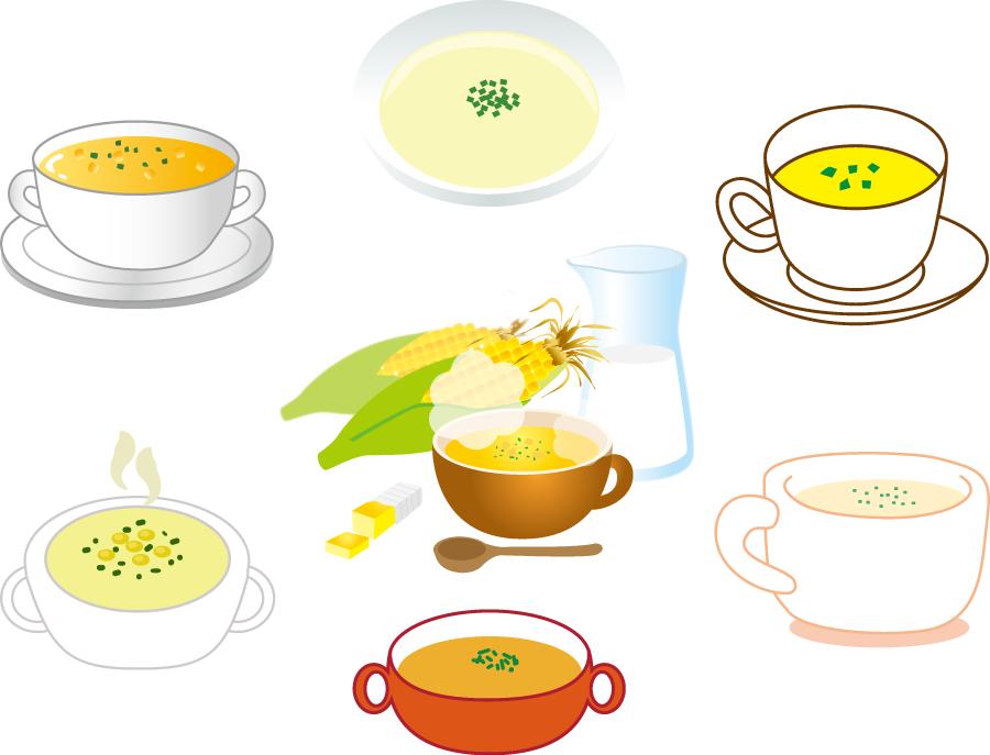 フリーイラスト 7種類のコーンスープのセット