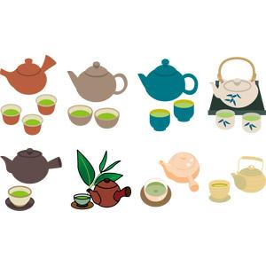 フリーイラスト, ベクター画像, AI, 飲み物(飲料), お茶, 緑茶(日本茶), 湯呑茶碗, 急須