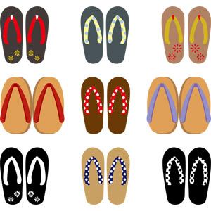 フリーイラスト, ベクター画像, AI, 靴(シューズ), 草履, 下駄, レディースファッション