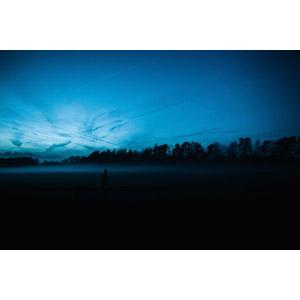 フリー写真, 風景, 人と風景, 日暮れ, 飛行機雲, 霧(霞), 青色(ブルー)
