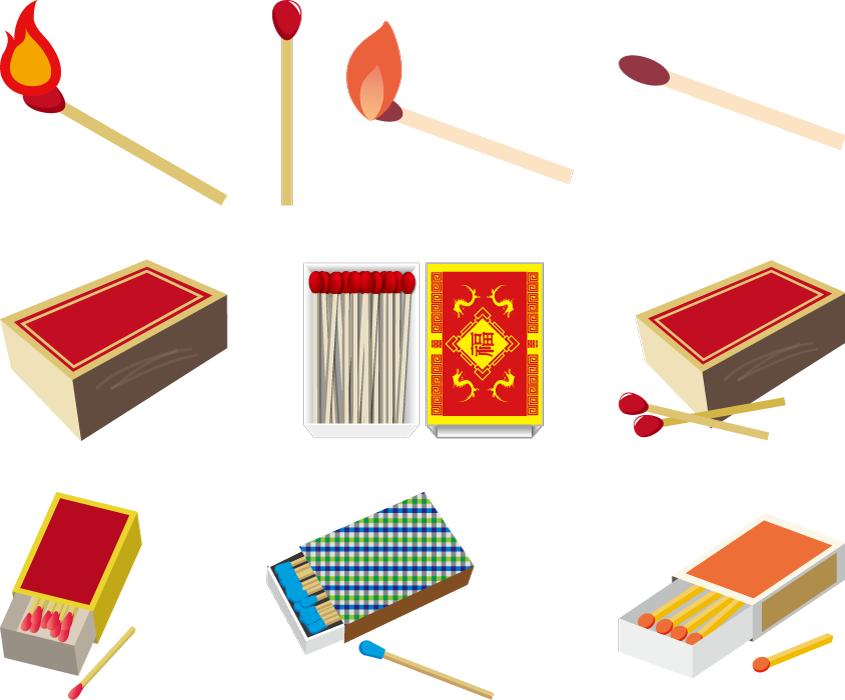 フリーイラスト 10種類のマッチのセット