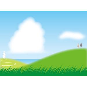 フリーイラスト, ベクター画像, AI, 風景, 灯台(ライトハウス), 丘, 海, カップル, 恋人, 後ろ姿, 二人