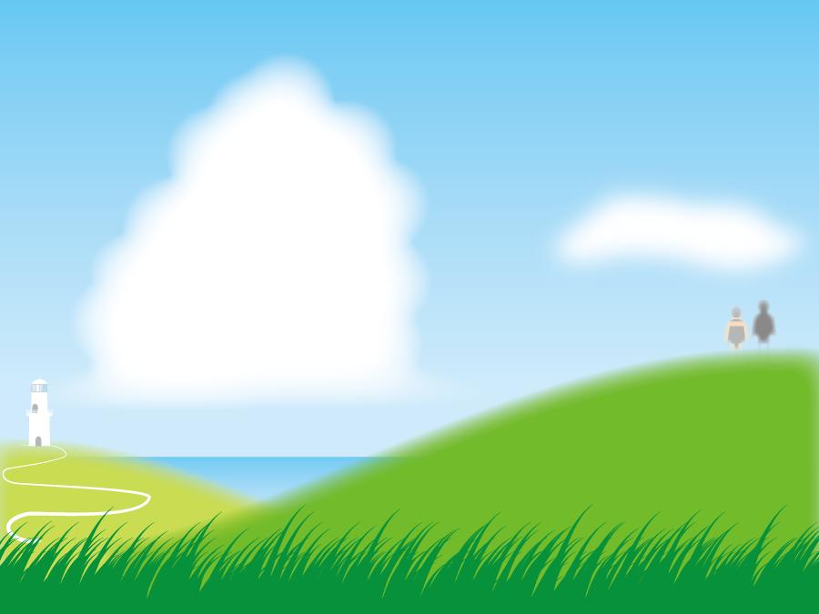 フリーイラスト 灯台と丘の上に立つカップル