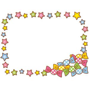 フリーイラスト, ベクター画像, AI, 背景, フレーム, 囲みフレーム, 飴(キャンディ), 星(スター), カラフル