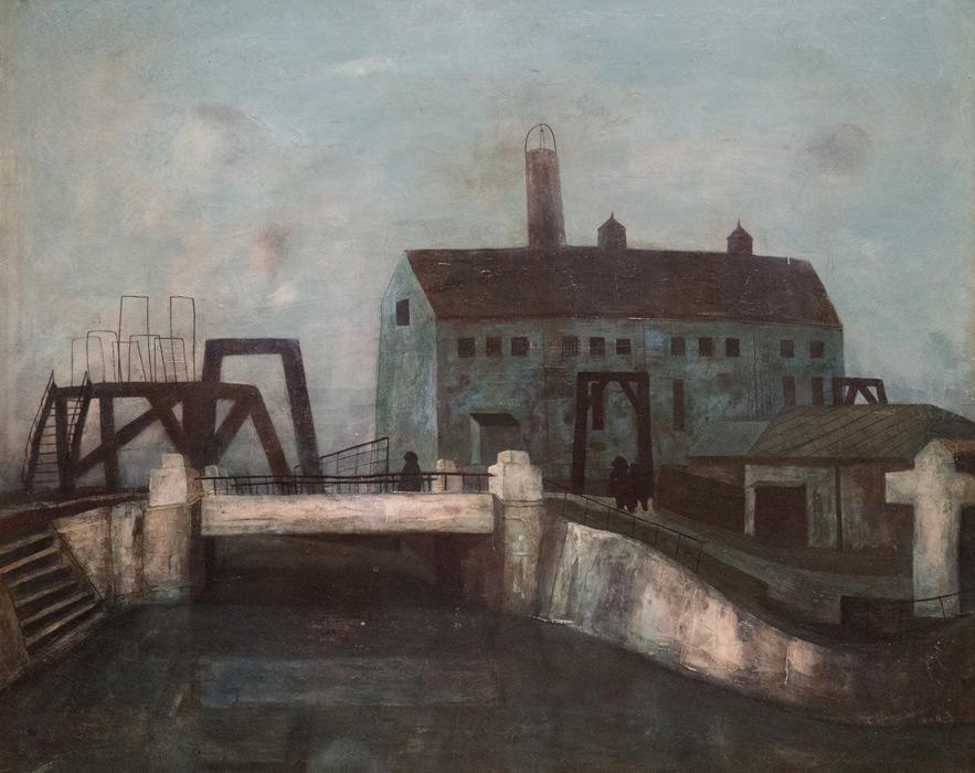 フリー絵画 松本竣介作「Y市の橋」