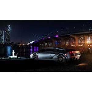 フリー写真, 乗り物, 自動車, スポーツカー, クーペ, ランボルギーニ, ランボルギーニ・ガヤルド, 風景, 夜景, 夜, 橋, 高層ビル