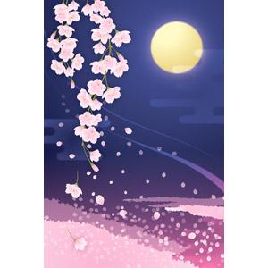フリーイラスト, ベクター画像, AI, 風景, 植物, 花, 桜(サクラ), ピンク色の花, 花びら, 夜, 月, 春