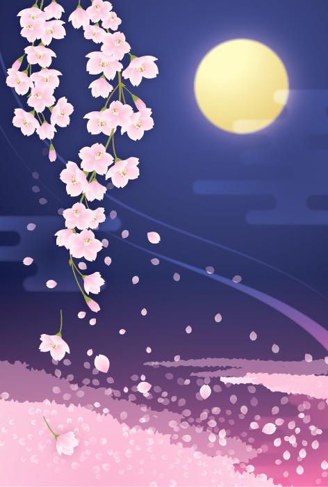 フリーイラスト 枝垂れ桜と夜空の月