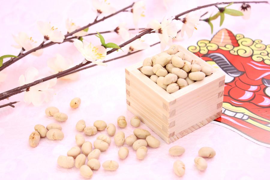 フリー写真 福豆と鬼のお面と梅の花
