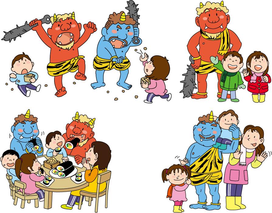 フリーイラスト 4種類の鬼と子供たちの節分のセット