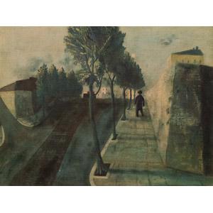 フリー絵画, 松本竣介, 風景画, 街(町), 並木道, 道路, 樹木