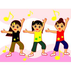 フリーイラスト, ベクター画像, EPS, 人物, 少女, 女の子, 踊る(ダンス), 音楽, 音符, 三人, 集団(グループ)