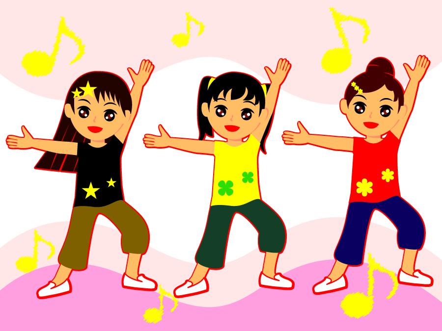 フリーイラスト ダンスする三人の少女